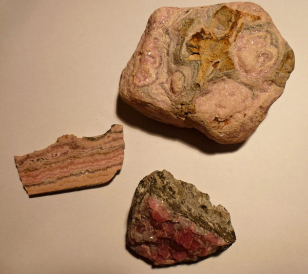 rhodochrosite specimens group